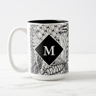 Monogrammed Black & White Doodle Pattern Art ZIA Two-Tone Coffee Mug