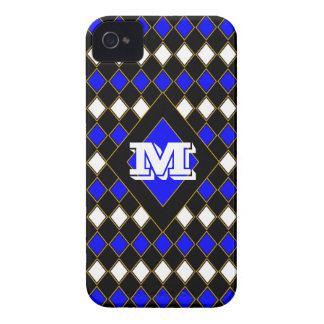 Monogrammed Black White n Blue Harlequin iPhone 4 Cover