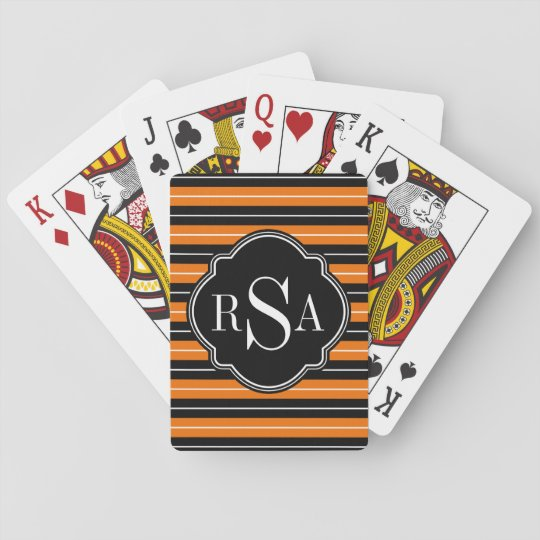 Monogrammed Black White Orange Striped Pattern Playing Cards