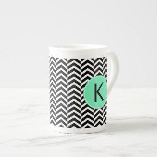 Monogrammed Black, White Sea Foam Chevron Pattern Tea Cup