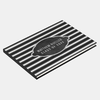 Monogrammed | Black White Stripes Graduation Party Guest Book