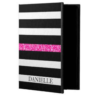 Monogrammed Black & White Stripes Pattern Powis iPad Air 2 Case