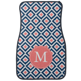Monogrammed Blue and Coral Diamond Ikat Pattern Car Mat