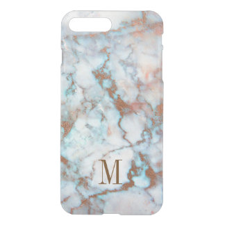 Monogrammed Blue And Gray Marble Brown Glitter iPhone 7 Plus Case