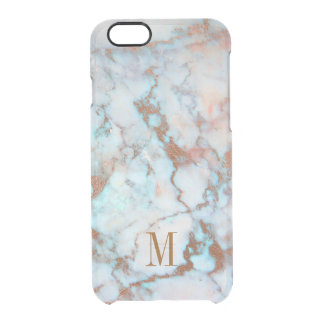 Monogrammed Blue And Gray Marble Clear iPhone 6/6S Case