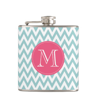 Monogrammed Blue and Pink Chevron Flask