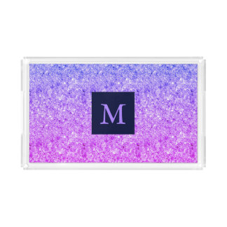 Monogrammed Blue And Pink Glitter Acrylic Tray