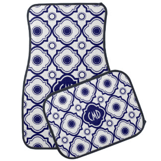 Monogrammed Blue And White Quatrefoil Pattern Car Mat