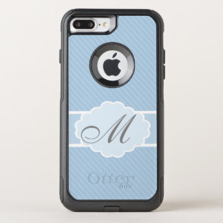 Monogrammed Blue and White Striped OtterBox Commuter iPhone 8 Plus/7 Plus Case