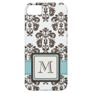 Monogrammed Blue Brown Damask iPhone 5 Cases