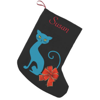 Monogrammed Blue Cat with Red Bow on Tail Stocking