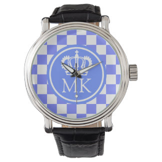 Monogrammed Blue Checkered Big Boss Watch