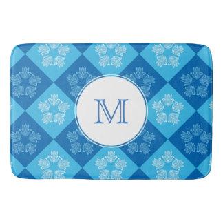 Monogrammed Blue Chessboard&Lotus Flower Pattern Bath Mat