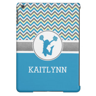 Monogrammed Blue Chevron Stripes Pom or Cheer Cover For iPad Air