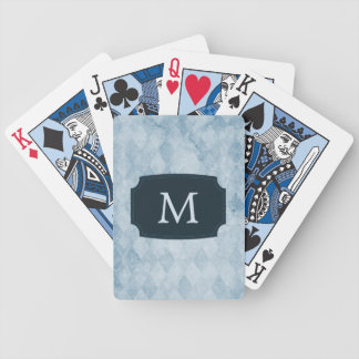 Monogrammed Blue Diamond Wallpaper Bicycle Playing Cards