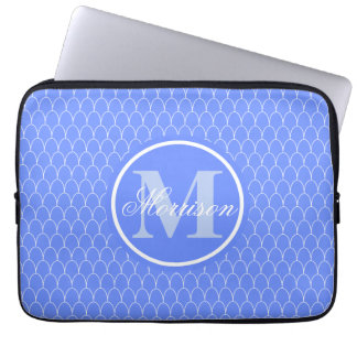 Monogrammed Blue Dragon Scale Computer Sleeves