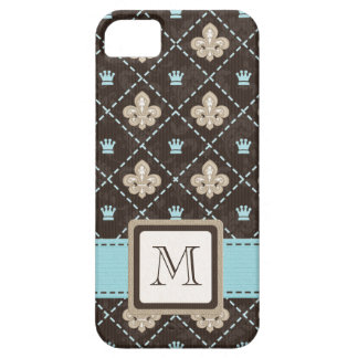 Monogrammed Blue Fleur de Lis Case For The iPhone 5