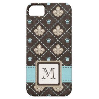 Monogrammed Blue Fleur de Lis iPhone 5 Cover
