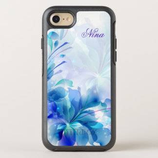 Monogrammed Blue Flowers OtterBox Symmetry iPhone 8/7 Case