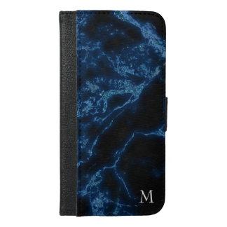 Monogrammed Blue Glitter iPhone 6/6s Plus Wallet Case