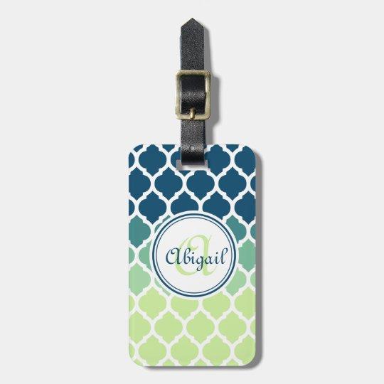 Monogrammed Blue Green Moroccan Lattice Pattern Bag Tag