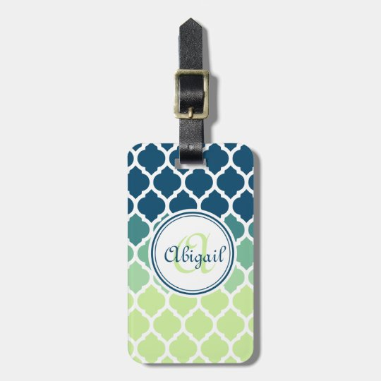 Monogrammed Blue Green Moroccan Lattice Pattern Luggage Tag
