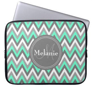 Monogrammed Blue & Grey Chevron Pattern Laptop Sleeve