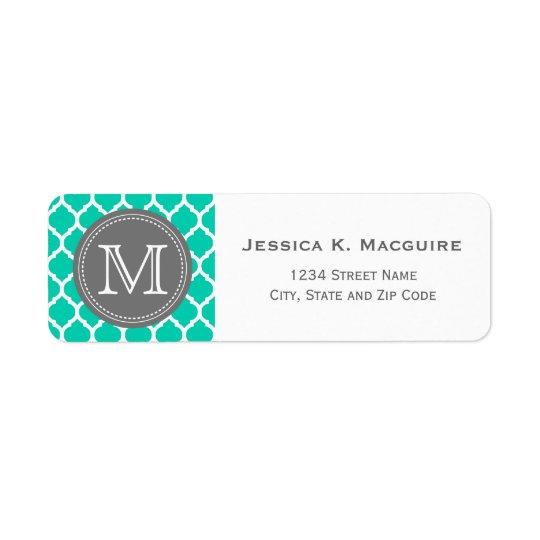 Monogrammed Blue & Grey Return Address Label