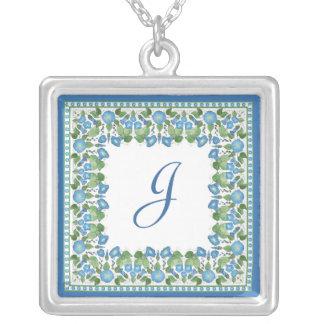 Monogrammed Blue Morning Glory Pendant Necklace