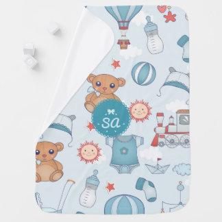Monogrammed Blue Nursery Print Baby Blanket