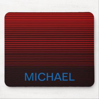 Monogrammed Blue Orange Red Black Stripes Mouse Pad
