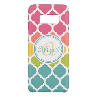 Monogrammed Blue Pink Moroccan Lattice Pattern Case-Mate Samsung Galaxy S8 Case