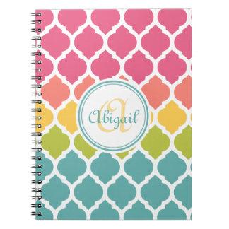 Monogrammed Blue Pink Moroccan Lattice Pattern Notebook