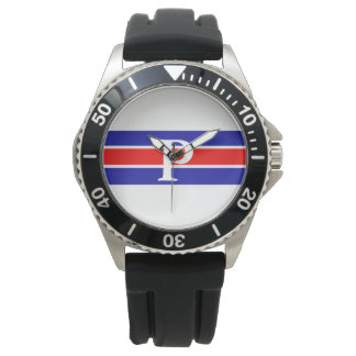 Monogrammed Blue & Red-White Striped Watch