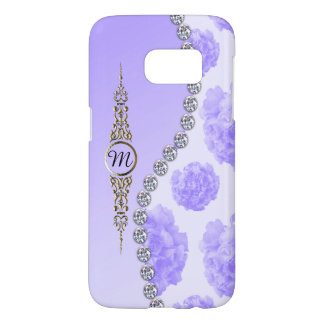 Monogrammed Blue Roses and Diamonds Samsung Galaxy S7 Case