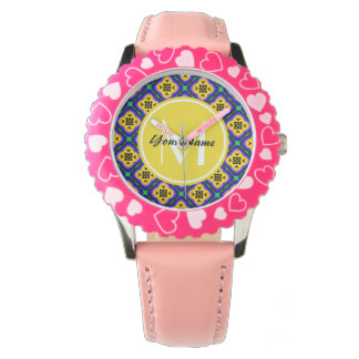 Monogrammed Blue Shabby Chic Royal Blue and Yellow Watches
