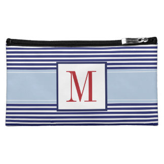 Monogrammed Blue Striped Cosmetic Bag