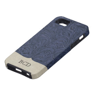 Monogrammed Blue Tooled Leather Look Country iPhone 5 Cover
