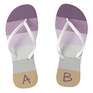 Monogrammed Blue Violet Purple Pink Gray Yellow Flip Flops