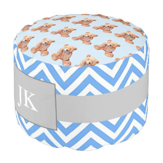 Monogrammed Blue & White Chevron Striped Pouf