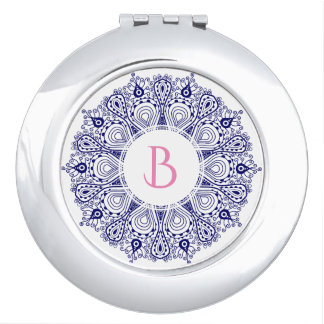 Monogrammed Blue & White Floral Mandala Lace Vanity Mirror