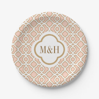 Monogrammed Blush and Gold Moroccan Wedding 7 Inch Paper Plate