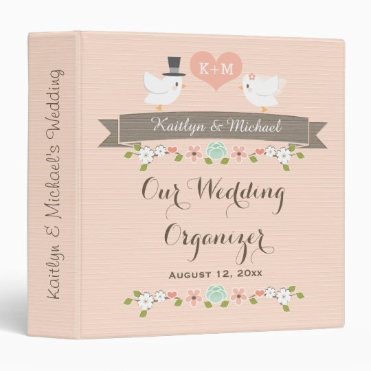 Monogrammed Blush Love Birds Dove Wedding Planner Binders