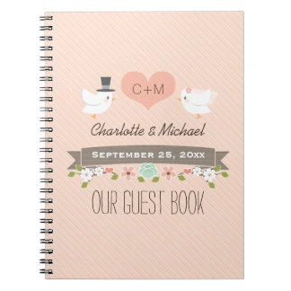 Monogrammed Blush Love Birds Wedding Guest Book