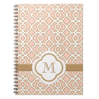 Monogrammed Blush Pink and Gold Moroccan Notebooks