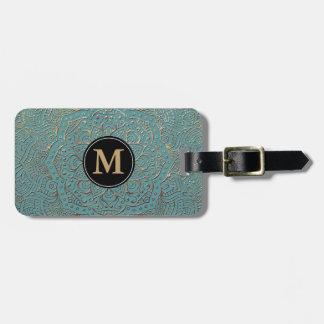 Monogrammed Boho Mandala | Teal Gold Luggage Tag