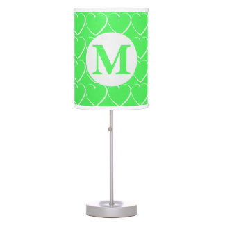 Monogrammed Bright Green Hearts Table Lamp