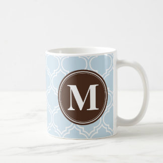 Monogrammed Brown Baby Blue Trellis Pattern Coffee Mug