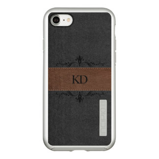 Monogrammed Brown & Black Leather Texture GR2 Incipio DualPro Shine iPhone 8/7 Case