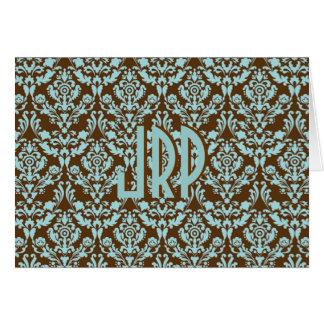 Monogrammed Brown & Blue Damask Card